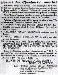 Tract des FUJ, 1943. Archives nationales, AJ39