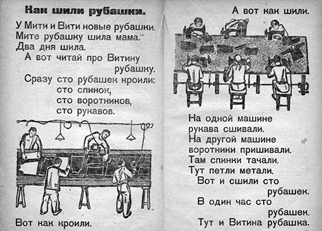 Fig. 27 and Fig. 28: N.A. Shcherbakova, Little Octobrists, Leningrad, 1932, p. 50 and p. 51. (K.D. Ushinskiy Scientific Pedagogical Library, Moscow. http://www.abc.gnpbu.ru/DownLoads/abc-book/scherbakova_1932.pdf)