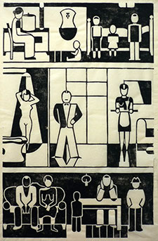 Ill. 7: Gerd Arntz, Zwölf Häuser der Zeit - Wohnhaus, 1927. Gravure sur bois, 25, 1 x 16,1 cm. Otto and Marie Neurath Isotype Collection, University of Reading.