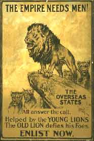 The empire needs men! The overseas states all answer the call. Helped by the young lions the old lion defies his foes. Enlist now / Arthur Wardle ; printed by Straker Brothers Ltd., 194-200 Bishopsgate, London.